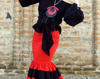 Red Skirt, Cotton Skirt, Skirt with Ruffles, Maxi Skirt Plus Size, High Waisted Skirt, TS19, Teyxo, Striped Skirt