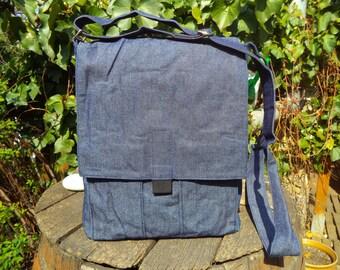 Blue jeans messenger bag