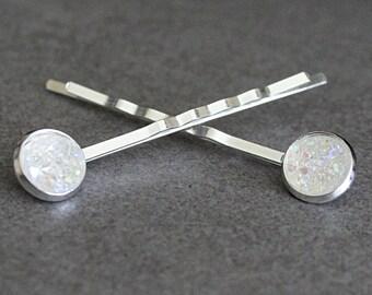 Clear Druzy Bobby Pins, Clear Hair Pins, Clear Hair Accessory, Silver Bobby Pins, Clear Druzy Hair Pins, Bridal Bobby Pins, Bridal Hair Pins