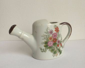 Small Vintage Ceramic Watering Can, Flower Vase, Made in Japan