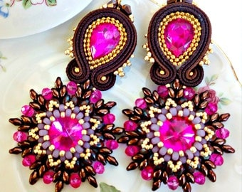 Soutache Earrings, Handmade Earrings, Soutache Jewelry, Handmade from Italy