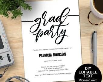 Graduation invitation, grad party invites, graduation party invitations, DIY, printable, templates, editable text, Simple, modern.