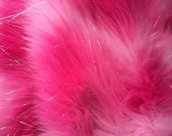 Hot pink tie dye jacquard faux fun fur with metallic threads -yard