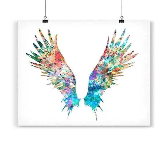 Feather Angel Wings Wall Decor : Angel wings art print watercolor painting feather