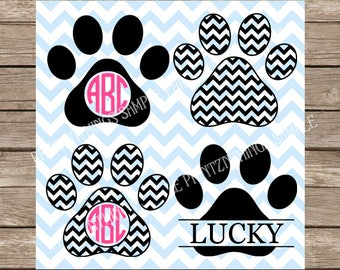 Paw Print svg, Dog svg, svg files, pet svg, svg file, dog monogram svg, cricut svg, Pet, monogram svg, svg files for cricut, Chevron svg