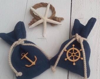 Nautical Favor Bag - Blue Favour Bag- Beach Wedding Favor Bag - Wedding Favor - Favor Bag - Gift Bag - Beach Wedding - Set of 25