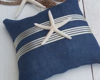 Indigo Burlap Ring Pillow - Starfish Ring Bearer Pillow - Wedding Pillow - Beach Wedding Ring Pillow - Wedding Decor - Nautical Pillow