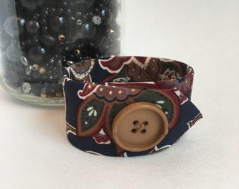 Floral Fabric Bracelet Tie Cuff Necktie Jewelry Gift for Teacher Friend Hair Stylist Artist Gift Navy Tan Wine Textile Bracelet Cuff Gift