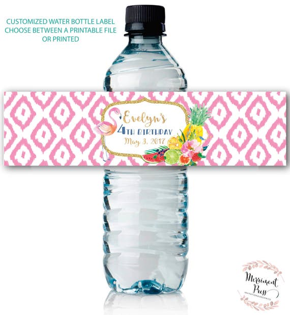 Fruit Water Bottle Labels / Floral / Flamingo / Tutti Fruity