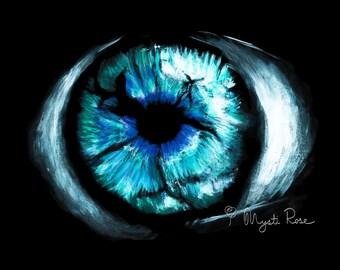 Eye Painting Print - Arcrylic - Creative Wall Art - Home Decor - Realistic Art Gift - © Not included across - Mysti Rose Tucker