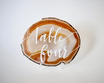 Agate Slice Table Numbers for Weddings