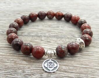 Root Chakra Bracelet, Yoga Bracelet, Wrist Mala, Jasper Bracelet, Gemstone Mala, Meditation Bracelet, Grounding Bracelet, Reiki Energy