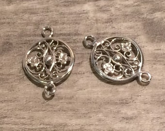 20% OFF SALE Two (2) .925 Sterling Silver 20x12.9mm Filigree Floral Round Link Components