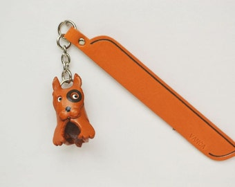 Bull terrier Leather dog Charm Bookmark/Bookmarks/Bookmarker *VANCA* Made in Japan #61712 Free Shipping