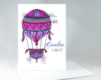 Hot Air Balloon, Hot Air Balloon Colors, Air Balloon Flying, Air Balloon Painting, Name Nursery Wall Decor, Hot Air Balloon Art Card 1001A