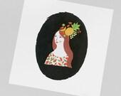 9x9in Fruity Lady Art Print | Square Art Print | Fashion pattern Illustration | Fruity print | Home decor | Pattern Illustration | Floral
