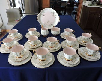 "39 Piece ROYAL ALBERT China ""BRAEMAR"" Trios - 12 Cup/Saucer/Dessert Plates, Cream and Sugar and 2 tab Cake Plate"