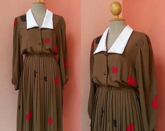 Brown Dress 80s Dress 1980s Day Dress Japanese Dress Shirt Dress Secretary Dress Retro Dress Card Print Dress Pleated Dress White Collar