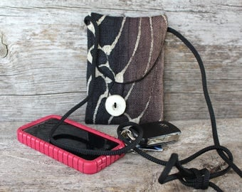 Mini Purse, Cell phone bag, Tiny bag made from handwoven hemp, batiked in Indonesia, Phone holder, iPhone bag, Small Purse, Small bag