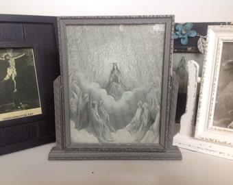Maria, Reina De Los Angeles/ Antique Copy/ Framed Religious Print/ Antique Tilt Frame