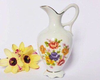 Cute Vintage Japanese Floral Pitcher Vase, Retro Decor, French Cottage Chic ~ 1980s Kitschy Decor ~ Porcelain Rose Bud Vase ~ Cute Gift Idea