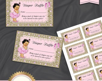 Diaper Raffle Card, Printable Diaper Raffle Card, Ballerina Tutu Baby Shower, Baby Girl, Pink, Ballerina Baby Shower Game - Instant Download