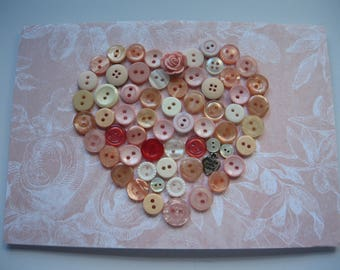 Mixed Media Heart Shape Decorated with Vintage Buttons