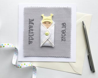 Personalised Baby Girl Card - Name and Birth Date - New Baby Girl Card - Baby Girl Card - New Baby Gift - Baby Shower Gift - Personalized