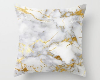 Marble Pillow, Velvet Cushion, Gold Pillow, Velvet Pillow Cover, Gold Cushion Cover, Lumbar, Square, 18x18, 22x22, Gifts for Her, Home Decor