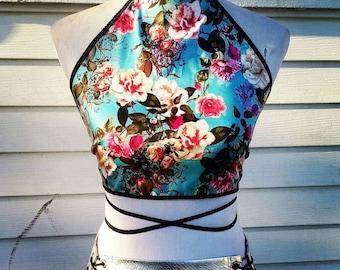 Halter top Gypsy Rose Halter Crop Top Boho bohemian Festival rave wear