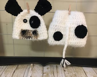 Newborn cow hat and diaper cover, baby super soft cow hat and diaper cover, newborn cow photo prop, baby cow Halloween costume, crochet cow