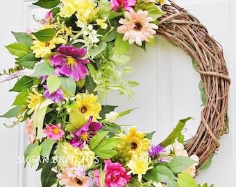 Spring Grapevine Wreath, Summer Grapevine Wreath, Spring Wreath, Summer Wreath, Grapevine Wreath, Grapevine, Door Wreath, Front Door Wreath