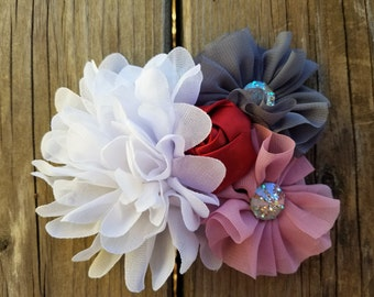 Hair Accessory, Girl Accessory, Valentine Flower, Spring Flower, Sparkly Jewel, Hairclip, Girls Hair Flower, Flower Collage, Girls Headband