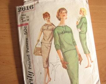 Vintage Simplicity pattern, Two piece dress pattern in size 14 bust 34