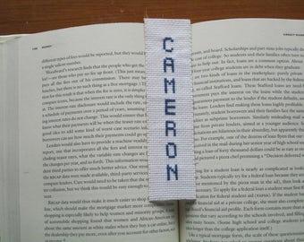 Boy name bookmark white blue Cameron needlecraft needlepoint embroidery scottish graduation baptism birthday gift