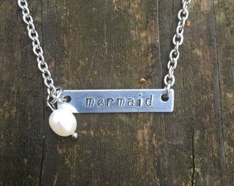 Mermaid Bar Necklace Hand-stamped with stainless steel chain