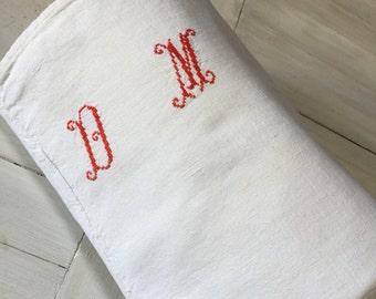 """79"""" French Vintage DM Monogrammed Linen Sheet"""
