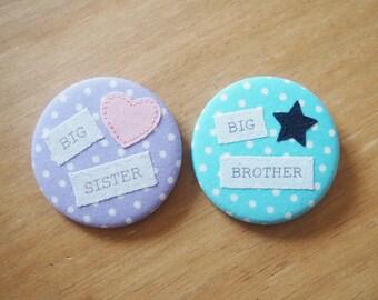 Big Sister Badge, Big Brother Badge, new sibling gift, new baby gift.