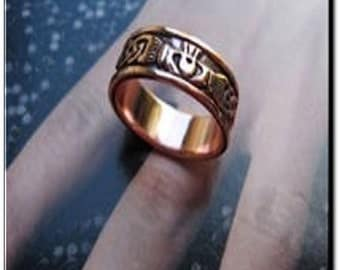 Solid Copper Claddagh Band Ring CRI969 Available in sizes 5 to 13
