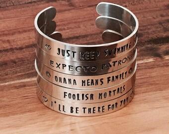 Cuff bracelet/silver bracelet/stacking bracelet/silver cuff/Disney bracelet