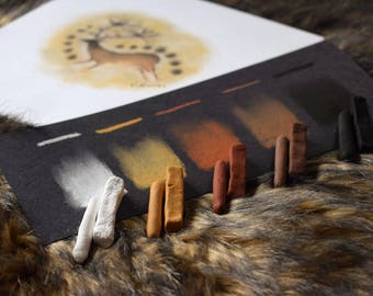PRIMITIVE PASTELS Set of 10 Natural Tone Pigments - Handmade Artist Soft Pastels