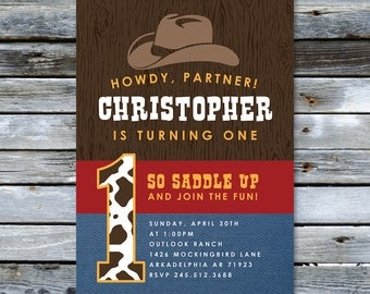 Cowboy First Birthday Invitation  |  Custom Western Invitation  |  Printable Digital Download  |  5x7""