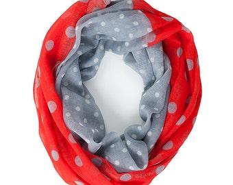 Red & Gray Polka Dot Infinity Scarf - Originally 15.00
