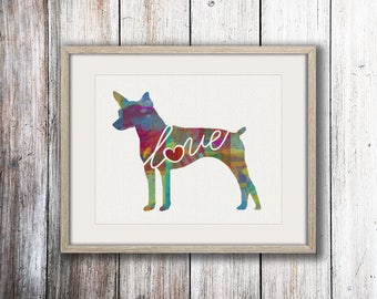 Rat Terrier Love - A Colorful, Bright & Whimsical Watercolor Print Home Decor Gift - Can Be Personalized with Name (+ More Breeds)