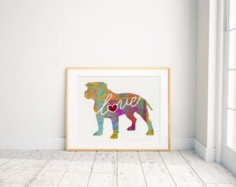 Pitbull (Pittie) With Natural Ears - A Colorful, Bright & Whimsical Watercolor Print Home Decor Gift - Can Be Personalized with Name