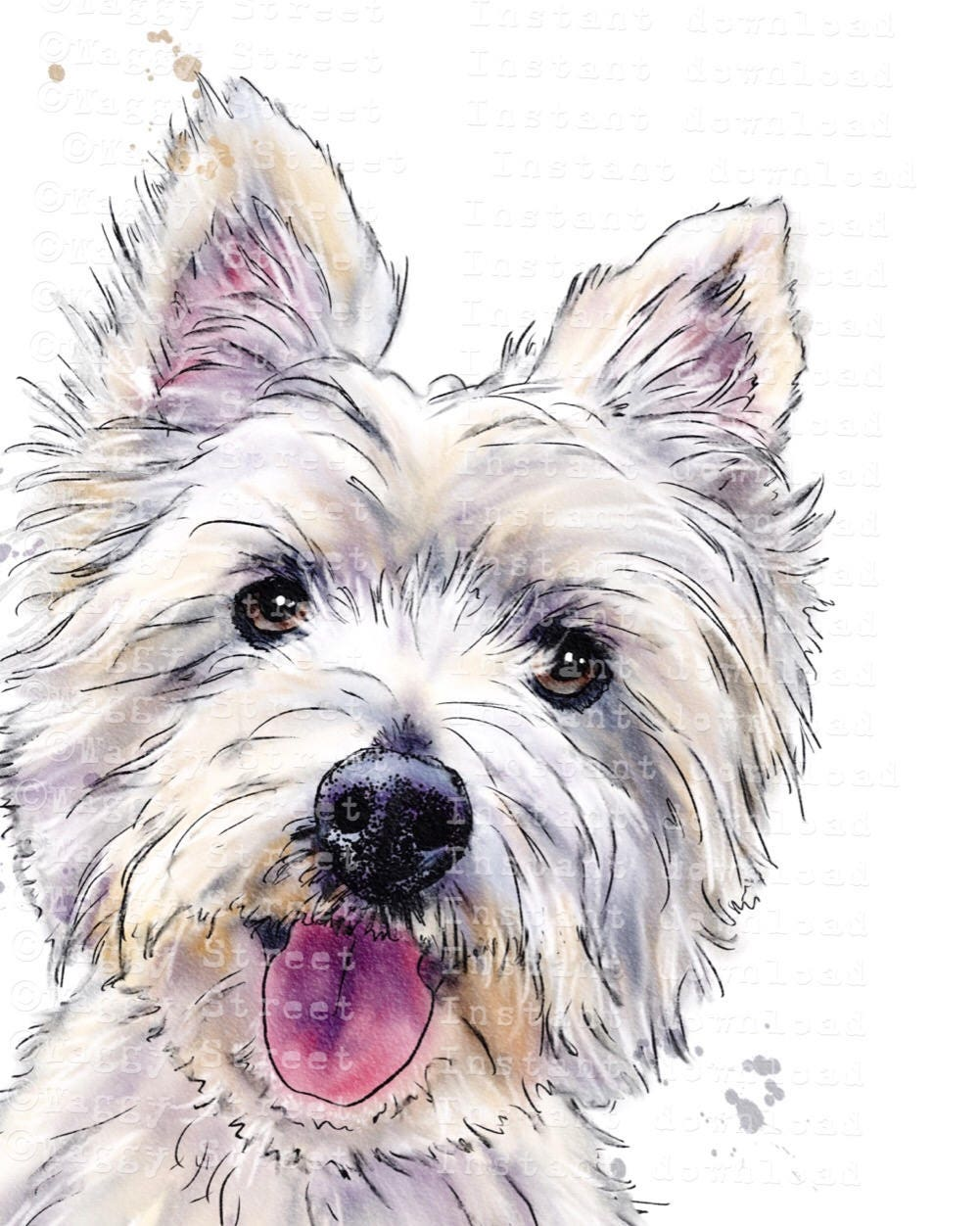 Westie dog clipart instant download. Digital animal ...