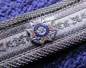 Vintage VFW Ladies Auxiliary Silver Toned Mesh Fashion Bracelet