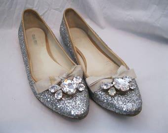 Silver Glitter Rhinestone MIU MIU Ballet Flats