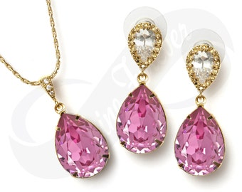Bridesmaid Gold Jewlery Set Bridal Swarovski Rosaline Pink Earrings Pink Necklace Set Bridal Jewelry Necklace Bridal Set Bridesmaid Gift