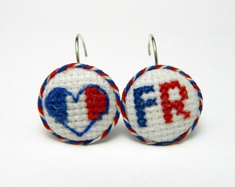 Earrings Hand Embroidery France FR Cross stitch completed Gift for her Handmade Ready to ship